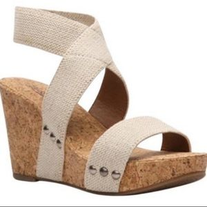 Lucky Brand ankle Strap Cork wedge sandals